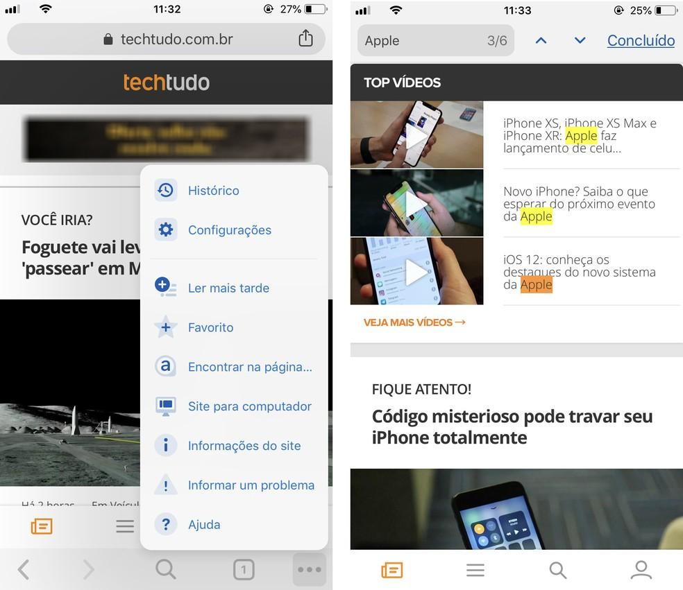 Google Chrome permite encontrar palavras nos sites abertos no app para celular — Foto: Reprodução/Rodrigo Fernandes