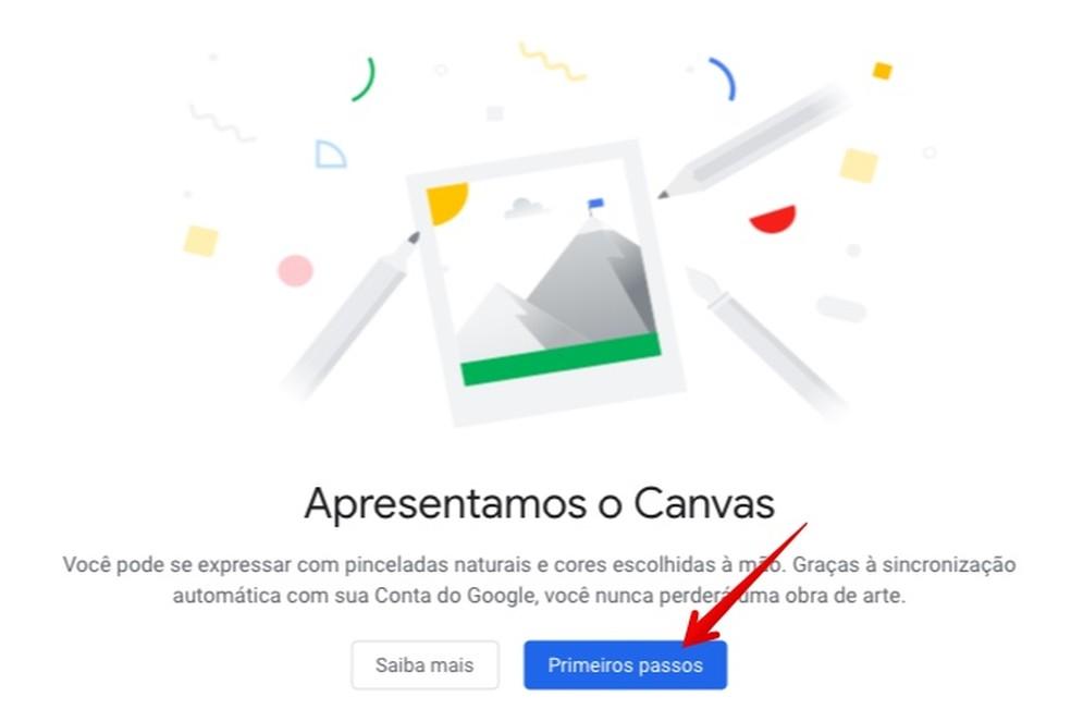 Acessando app de desenho do Google pela primeira vez — Foto: Reprodução/Helito Beggiora