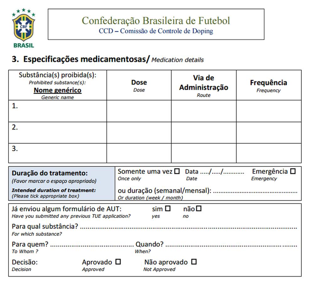 Parte do formulário da CBF onde clube deve especificar medicamento e prazo de uso (Foto: Reprodução)