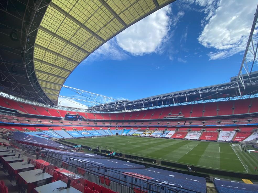Wembley, palco das semifinais e final da Copa da Inglaterra — Foto: Reprodução / Twitter Manchester City