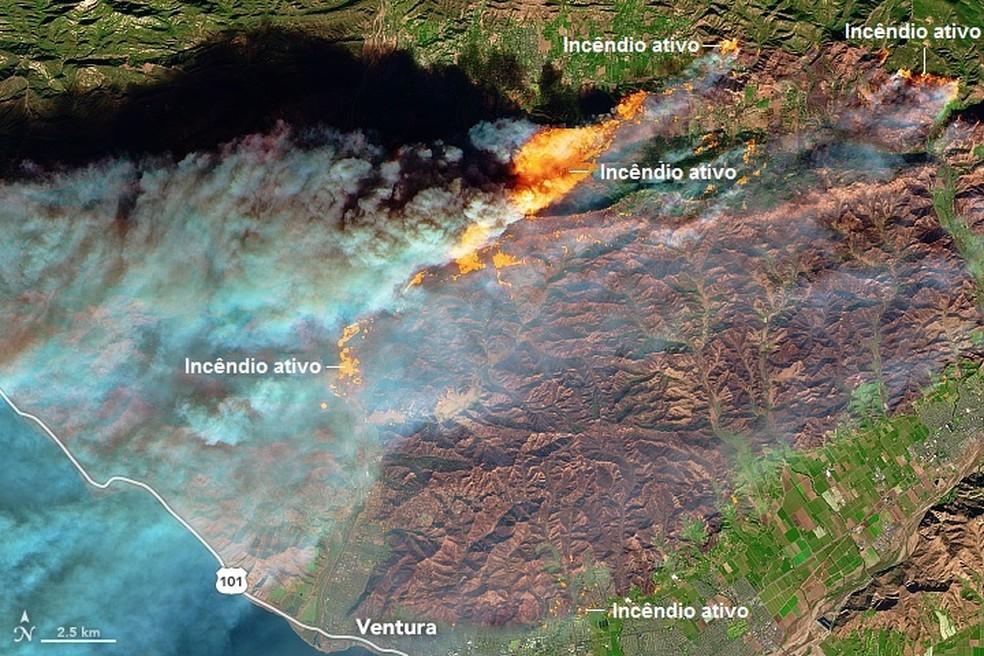 -  Califórnia emitiu o alerta roxo, o nível mais elevado de sua história  Foto: Nasa