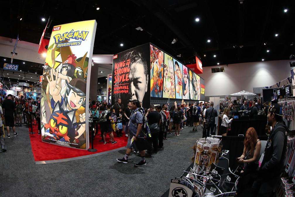 Visão geral do centro de convenções de San Diego, na Califórnia (EUA) preparado para a Comic-Con 2018 — Foto: JOE SCARNICI / GETTY IMAGES NORTH AMERICA / AFP