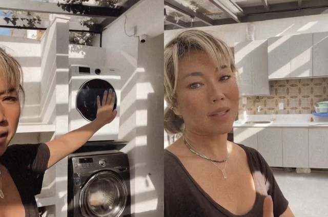 Dani Suzuki mostra lavanderia (Foto: Reprodução)