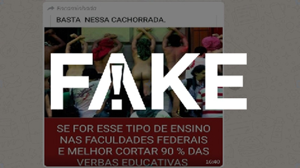 É #FAKE que foto mostra estudantes protestando em universidade — Foto: Reprodução/Internet