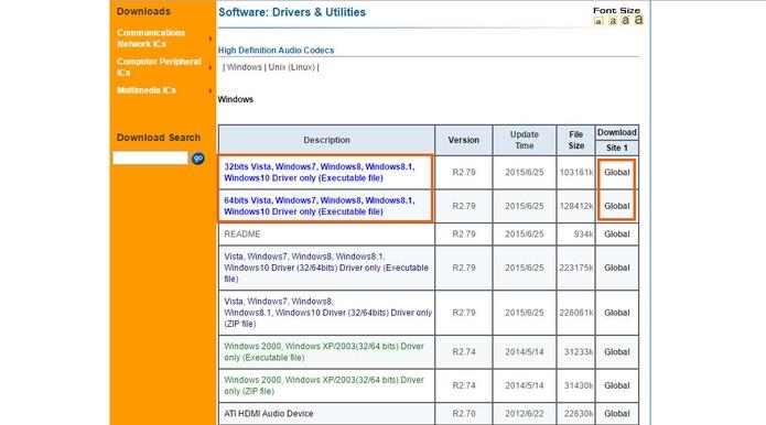 Selecione o driver mais recente para download do Windows 7 (Foto: Reprodução/Barbara Mannara)