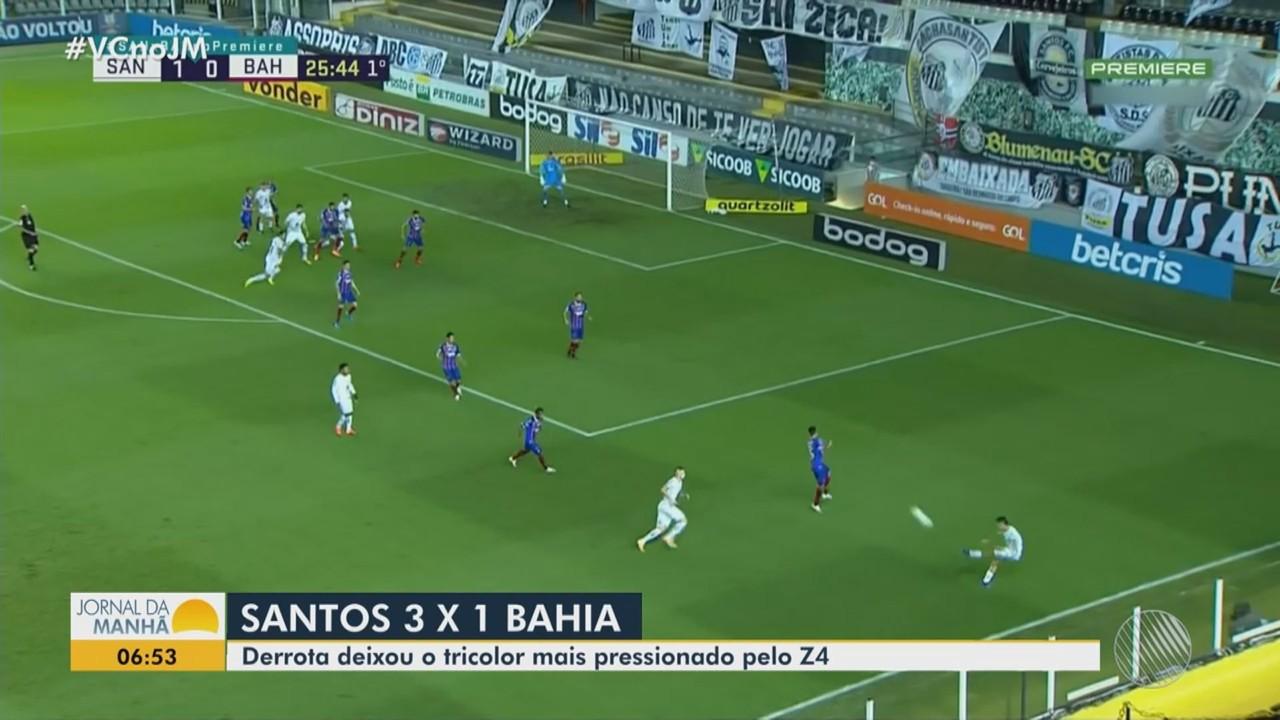 Esporte: Bahia perde para o Santos e se complica no Campeonato Brasileiro