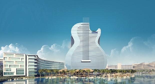 Hotel em formato de guitarra gigante ficará pronto em 2019 (Foto: Divulgação)