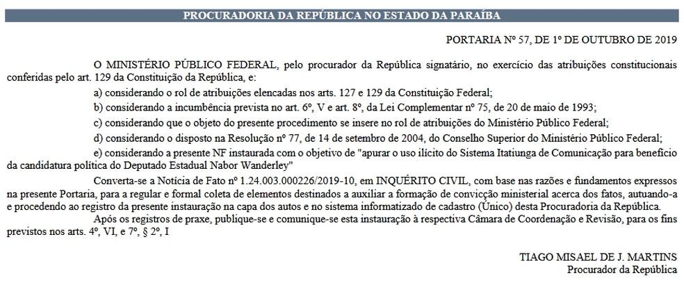 Portaria foi publicada no Diário Eletrônico do MPF nesta quarta-feira (2)  — Foto: Reprodução/Diário Eletrônico do MPF