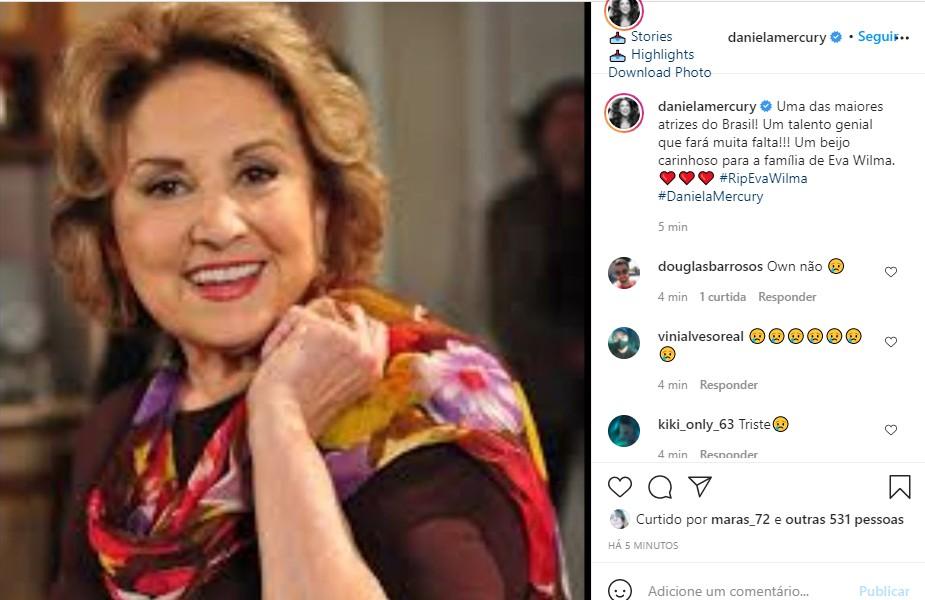 Daniela Mercury: homenagem para Eva Wilma (Foto: Reprodução Instagram)