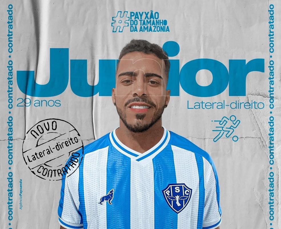 Júnior chega para a lateral-direita bicolor — Foto: Agência Paysandu