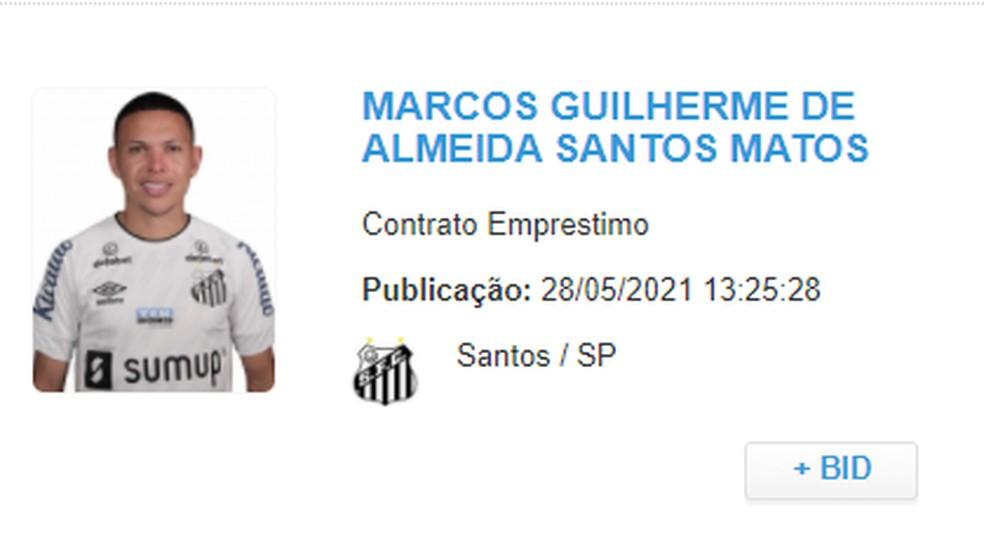 Marcos Guilherme é registrado pelo Santos no BID — Foto: Reprodução
