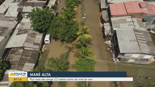 Maré alta atinge 3,2 metros acima do nível do mar em Macapá e deixa famílias preocupadas