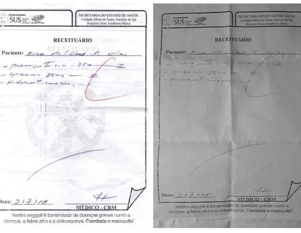 À esquerda, a receita prescrita inicialmente pelo médico. À direita, a cópia com a correção da dosagem para 2,5 mg (um ponto feito com caneta) (Foto: Reprodução G1/Arquivo Pessoal)