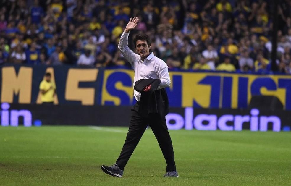 Guillermo Schelotto está suspenso para o jogo decisivo contra o Palmeiras — Foto: Reprodução/Twitter
