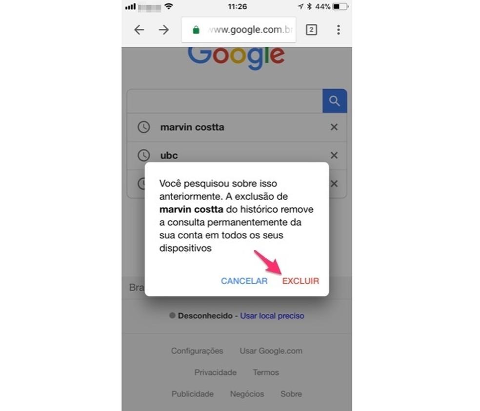Ação para deletar pelo celular um termo pesquisado no Google (Foto: Reprodução/Marvin Costa)