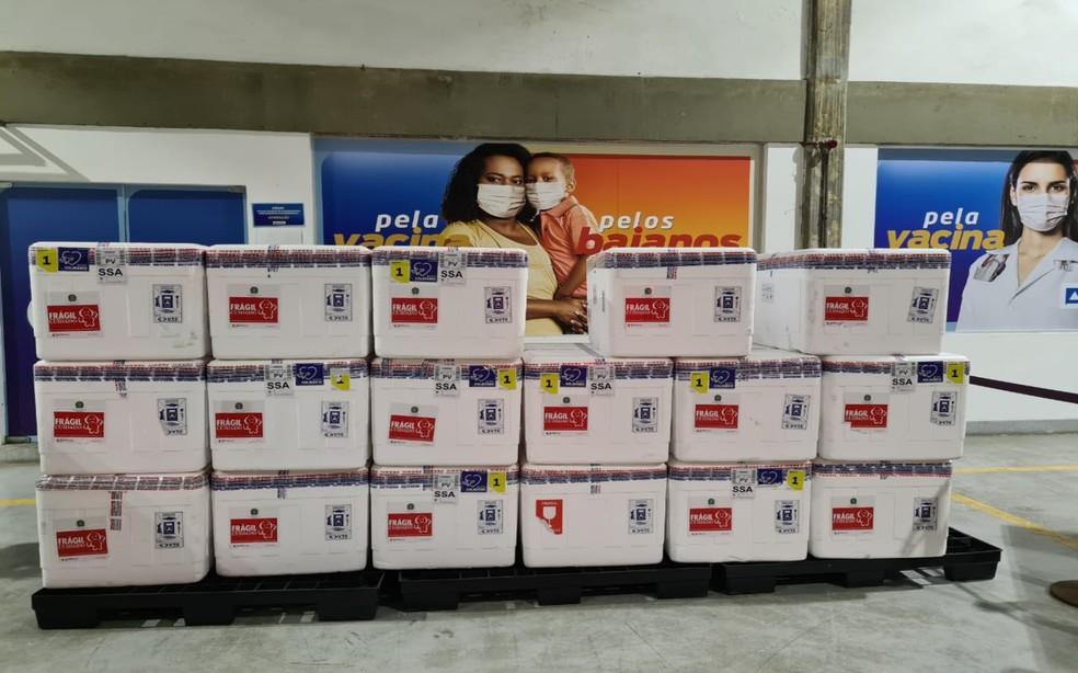 Vacinas começaram a ser levadas para as cidades do interior na manhã deste domingo (7) — Foto: Divulgação/Sesab