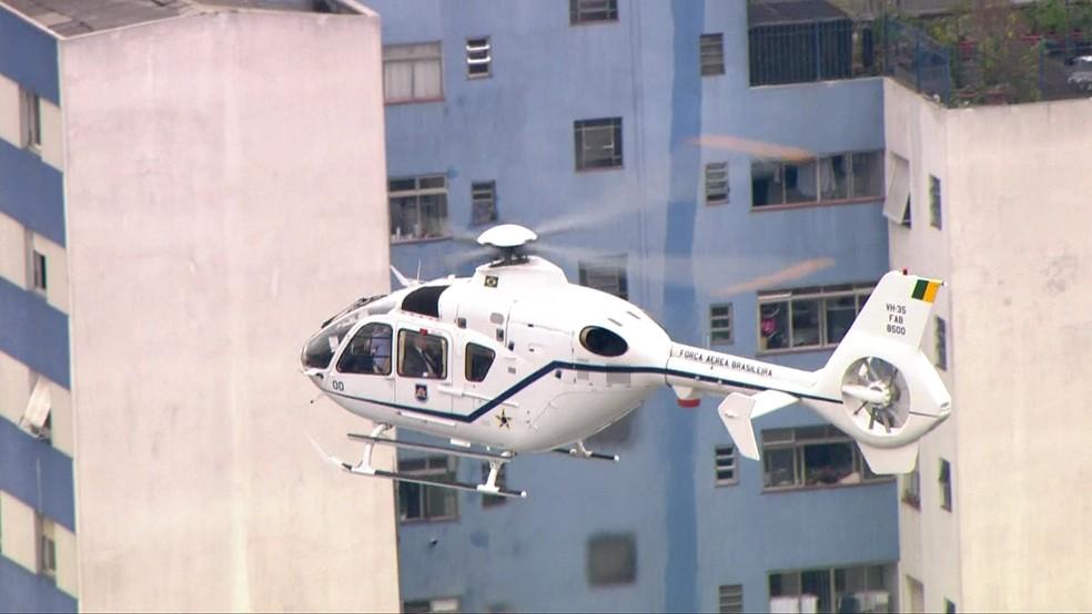 Temer deixa hospital em helicóptero (Foto: Reprodução/TV Globo)