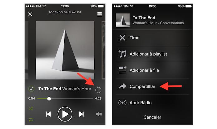 Acessando a ferramenta de compartilhamento do Spotify no iPhone (Foto: Reprodução/Marvin Costa)
