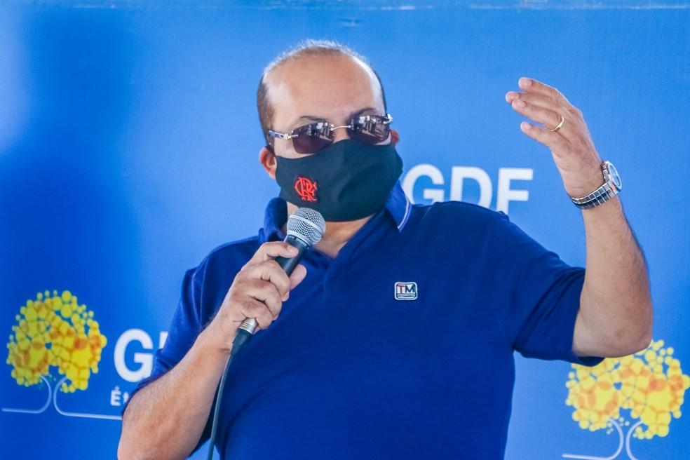 Governador do Distrito Federal, Ibaneis Rocha (MDB), em pronunciamento — Foto: Renato Alves/Agência Brasília