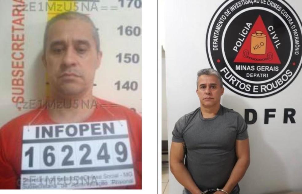 João Batista da Silva se mantinha foragido da polícia com plásticas e emagrecimento; à esquerda, foto de 2007, e à direita, foto de três semanas atrás  — Foto: Polícia Civil de Minas Gerais/Divulgação
