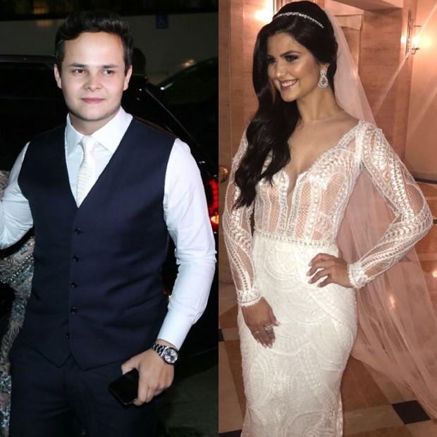 Os noivos, Matheus e Paula (Foto: AgNews/QUEM Ed.Globo)
