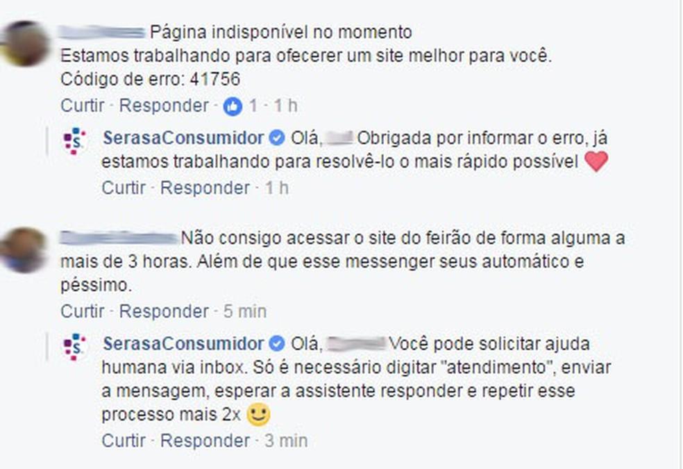 Consumidores não conseguem acessar o site do Feirão da Serasa e reclamam na página da empresa no Facebook (Foto: Reprodução/Facebook)