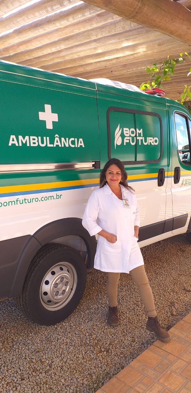 Rosilene Alves Cotrim, auxiliar de enfermagem, atua como segurança ocupacional em uma das fazendas do Grupo Bom Futuro (Foto: Arquivo pessoal)