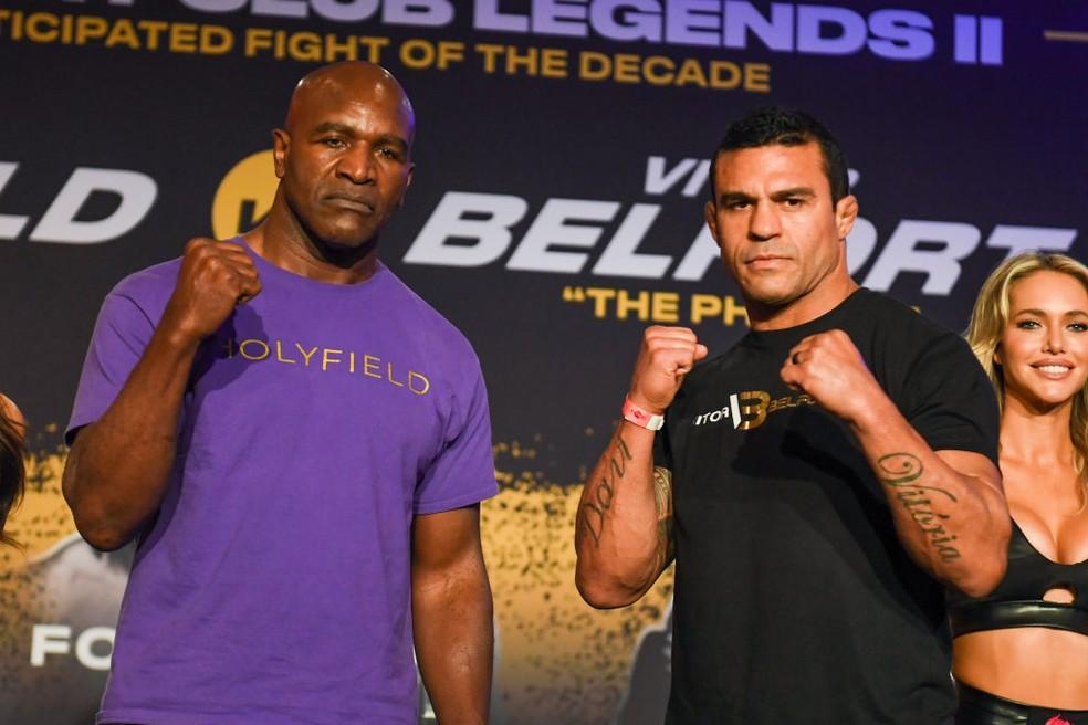 Evander Holyfield e Vitor Belfort vão lutar neste sábado (11) — Foto: Eric Espada/Getty Images