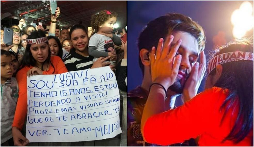 Luan pediu que Melissa tocasse seu rosto durante o show — Foto: Marília Moraes/G1