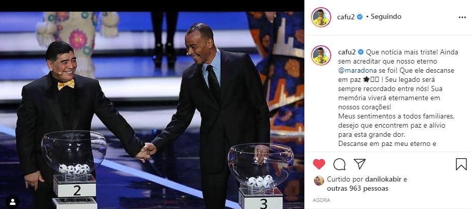Cafu homenageia Maradona (Foto: Reprodução/ Instagram)