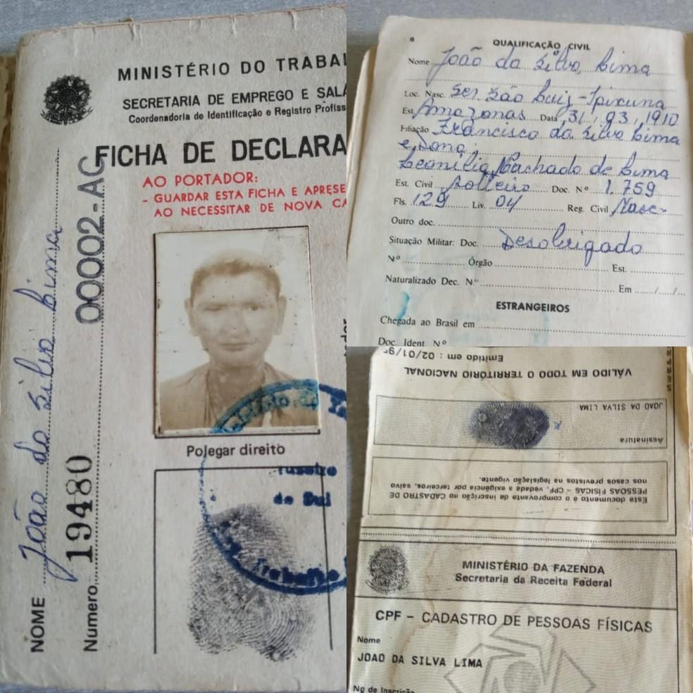 Documentos mostram data de nascimento de idoso — Foto: Arquivo pessoal