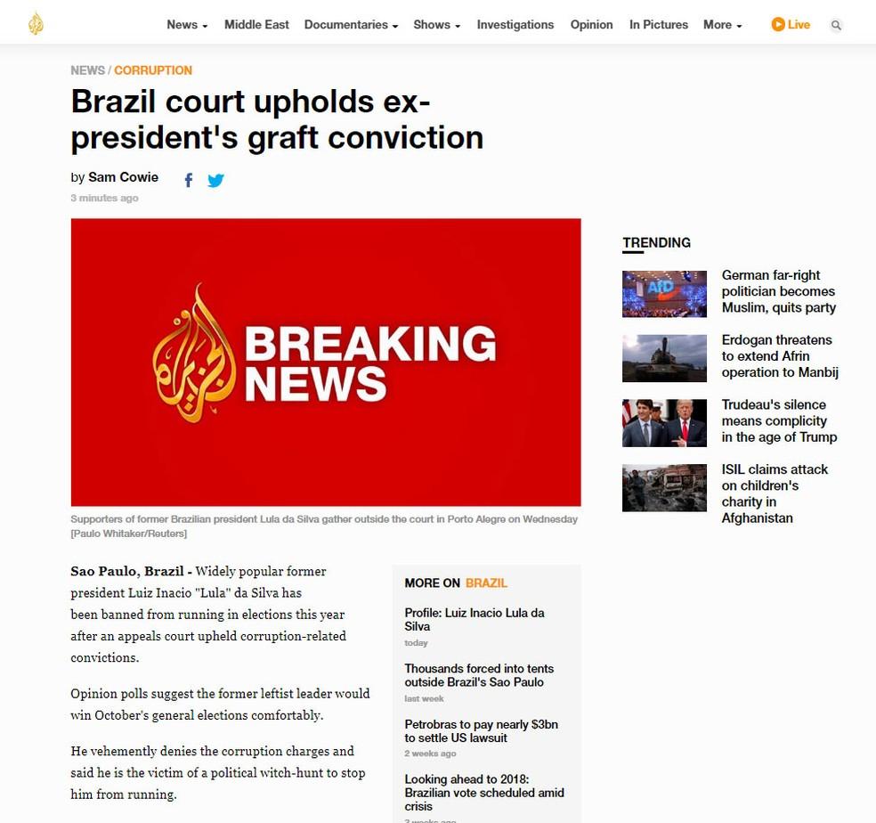 Rede Al Jazeera noticia decisão sobre recurso do ex-presidente Lula nesta quarta-feira (24) (Foto: Reprodução/Al Jazeera)