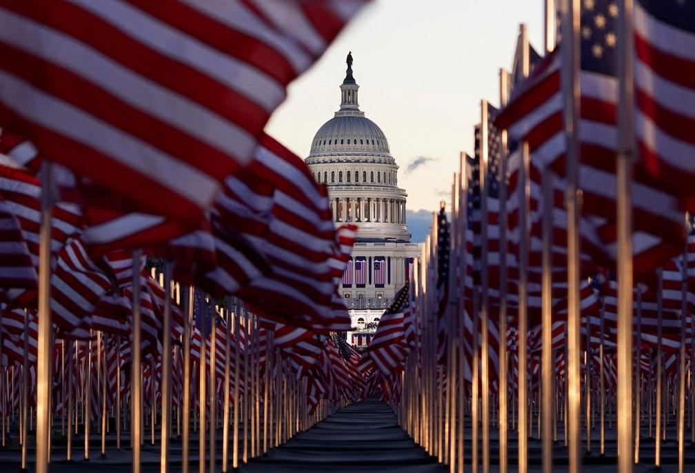 Capitólio dos EUA antes da cerimônia de posse de Joe Biden, em Washington, nesta quarta-feira (20) — Foto: Allison Shelley/Reuters