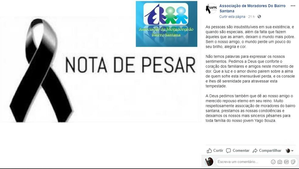 Associação de moradores do bairro Santana lamentou morte do jovem Yago Souza (Foto: Reprodução/Redes Sociais)