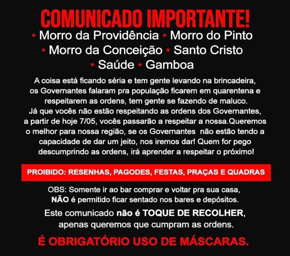 Toque de recolher em comunidades do Rio espalhados em grupos nas redes sociais — Foto: Reprodução