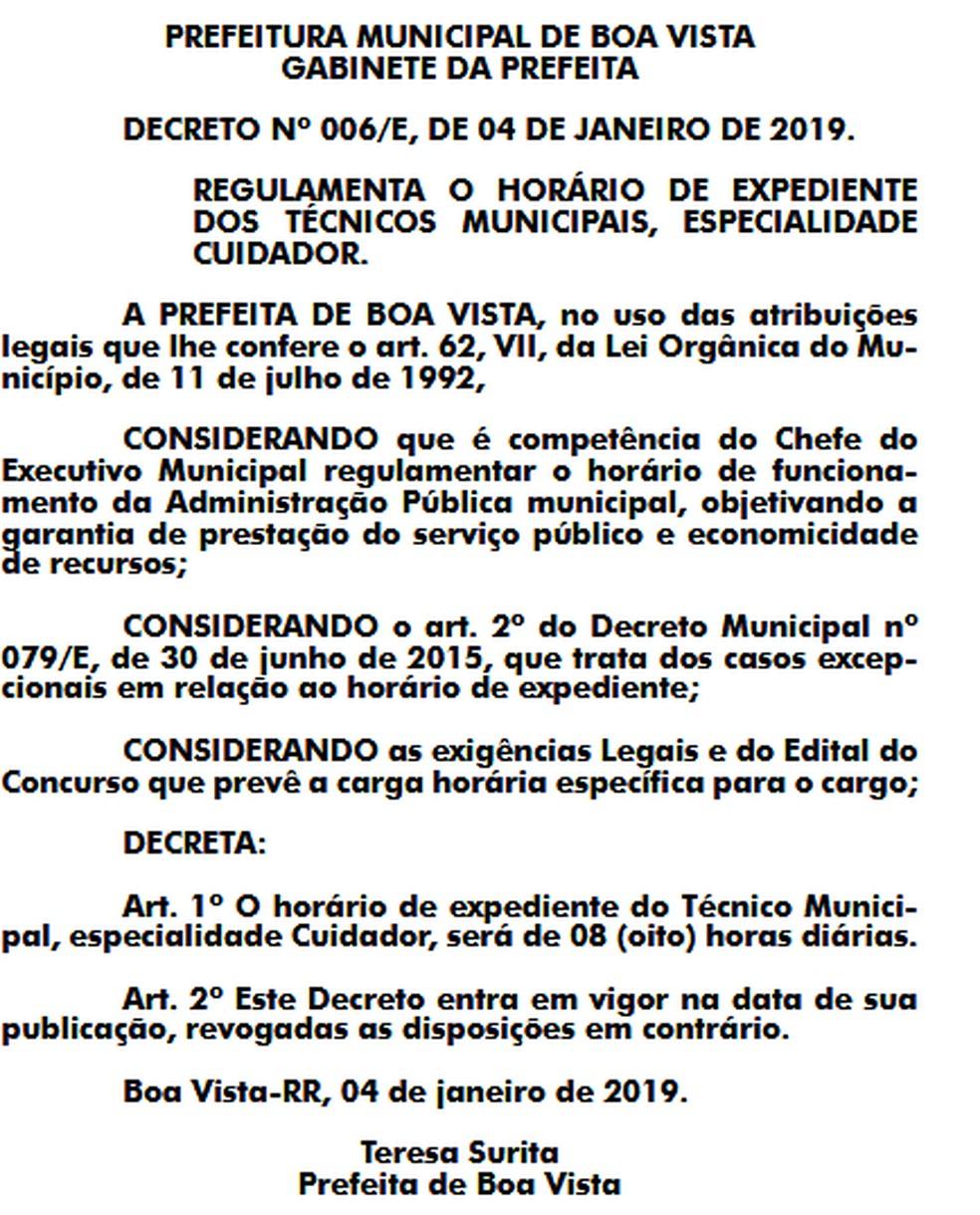 Decreto foi assinado na sexta (4) e publicado nesta segundo (7) no Diário Oficial do Município — Foto: Reprodução/ Diário Oficial do Município de Boa Vista