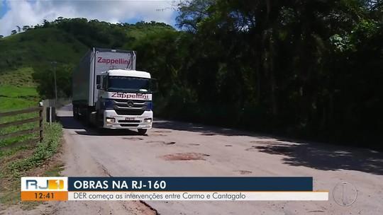 DER começa obras na RJ-160, entre Carmo e Cantagalo