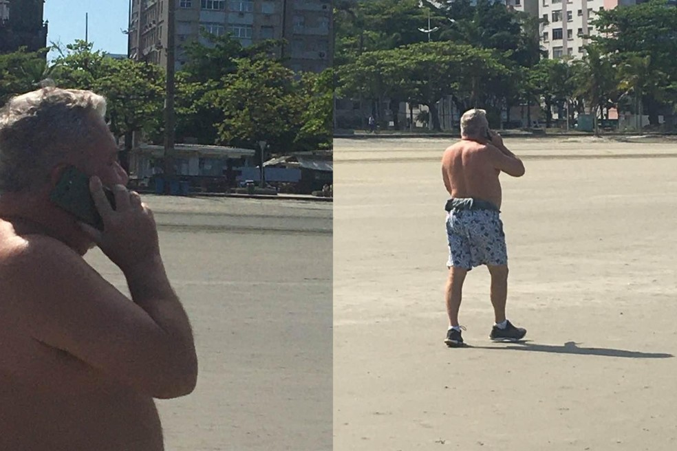 Fotos mostram desembargador sem a máscara na praia de Santos, SP — Foto: G1 Santos