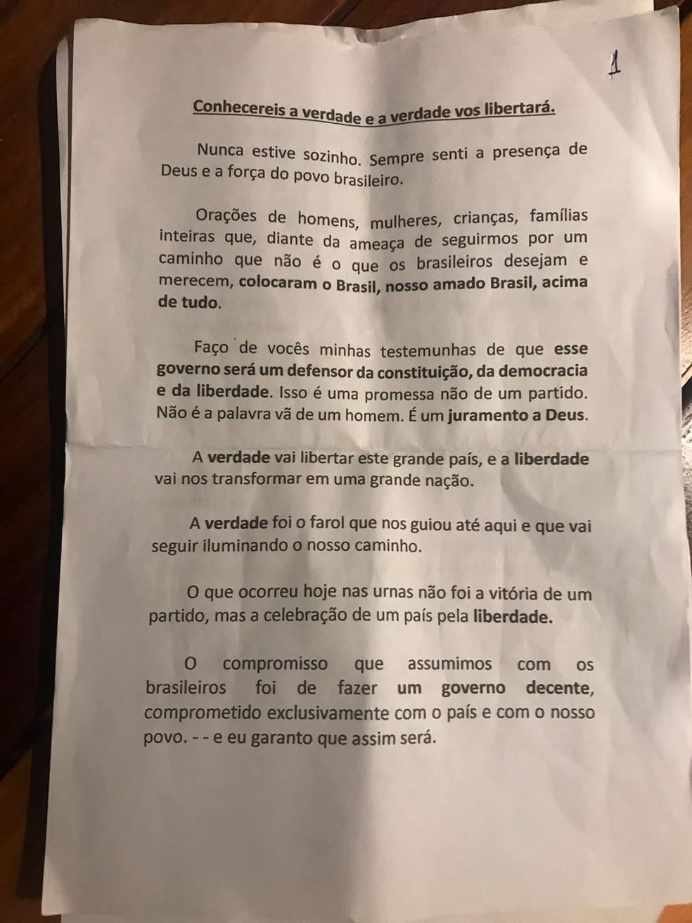 Discurso de Bolsonaro - página 1 — Foto: Reprodução