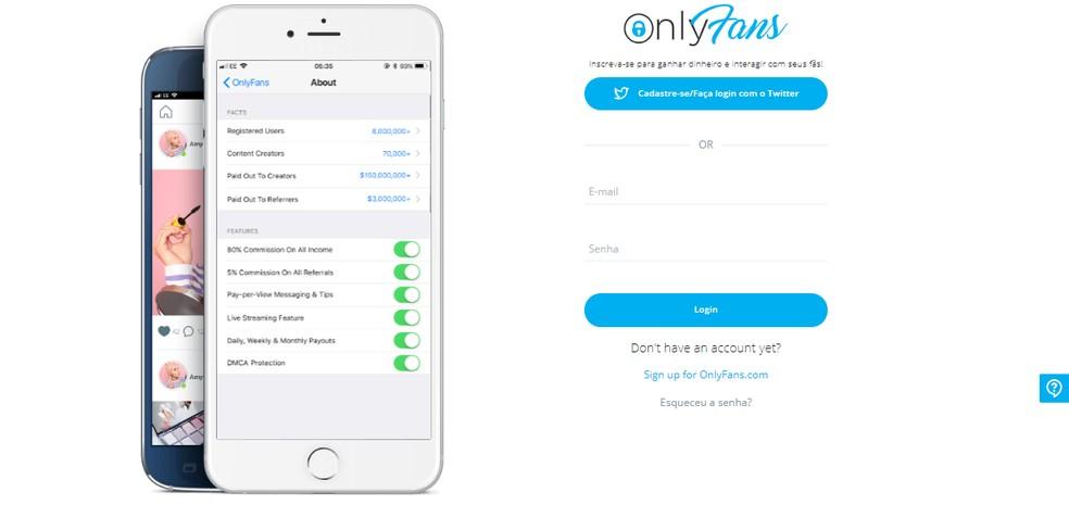 Página inicial do site OnlyFans — Foto: Reprodução/OnlyFans