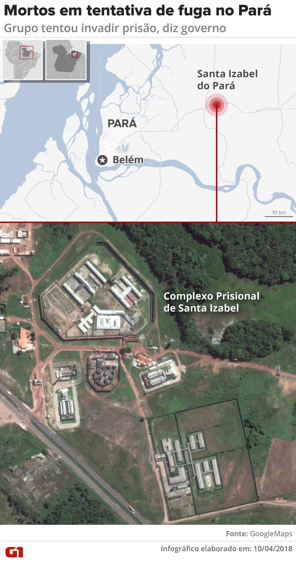 Mapa mostra o Complexo Prisional de Santa Izabel, no Pará, onde ocorreu uma tentativa de fuga em massa de presos (Foto: Igor Estrella/G1)