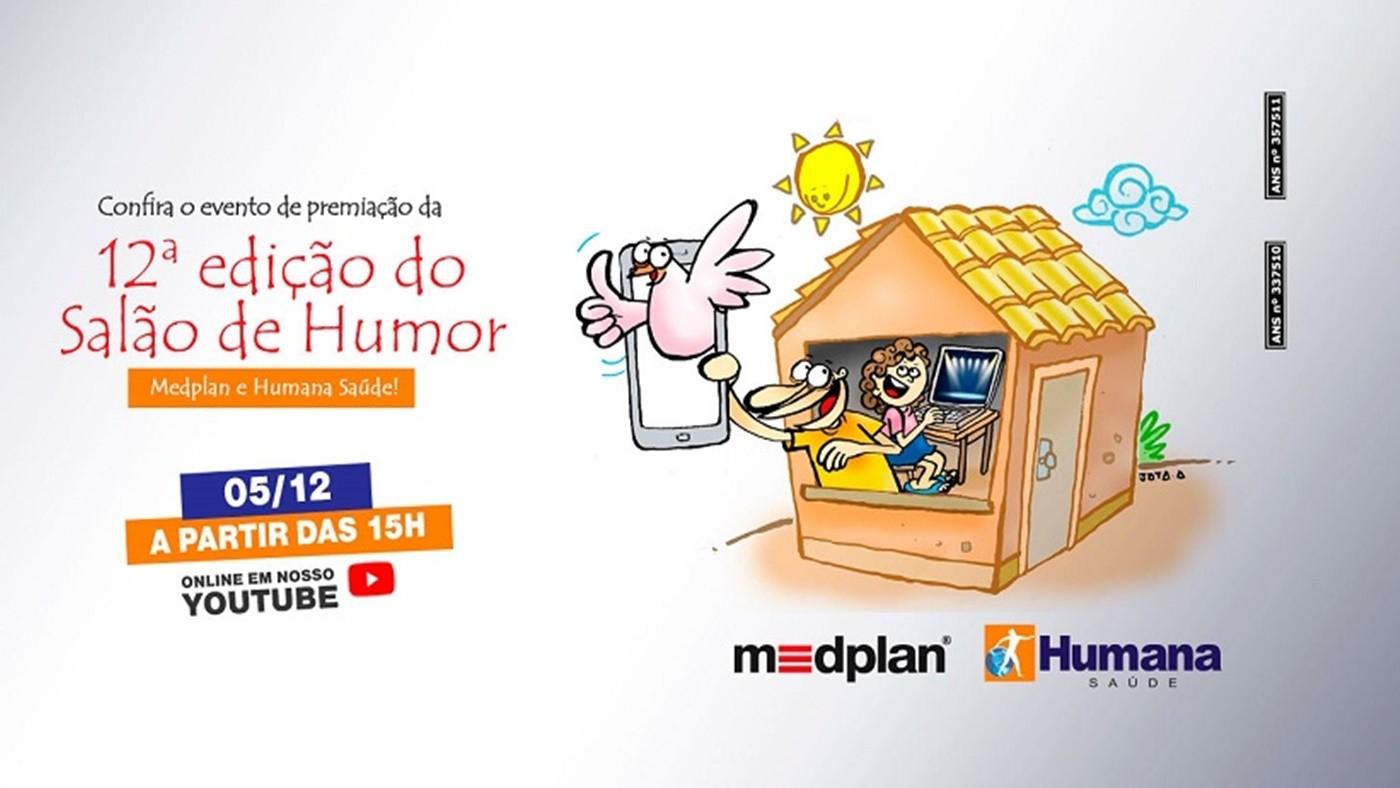 Premiação do 12º Salão de Humor Medplan e Humana acontece neste sábado (05) pelo YouTube