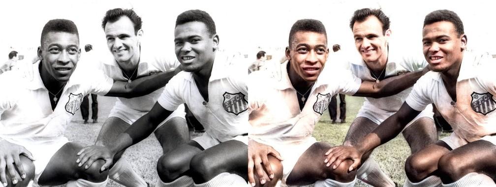 O maior ataque de todos os tempos no Brasil: Coutinho, Pepe e Pelé, Santos — Foto: Reprodução