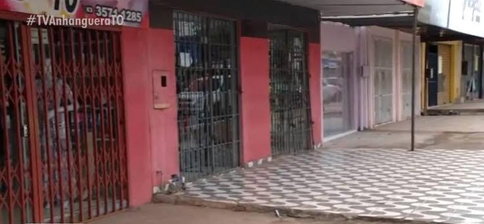 Comércio fechado em Palmas durante a pandemia de Covid-19 — Foto: Reprodução/TV Anhanguera