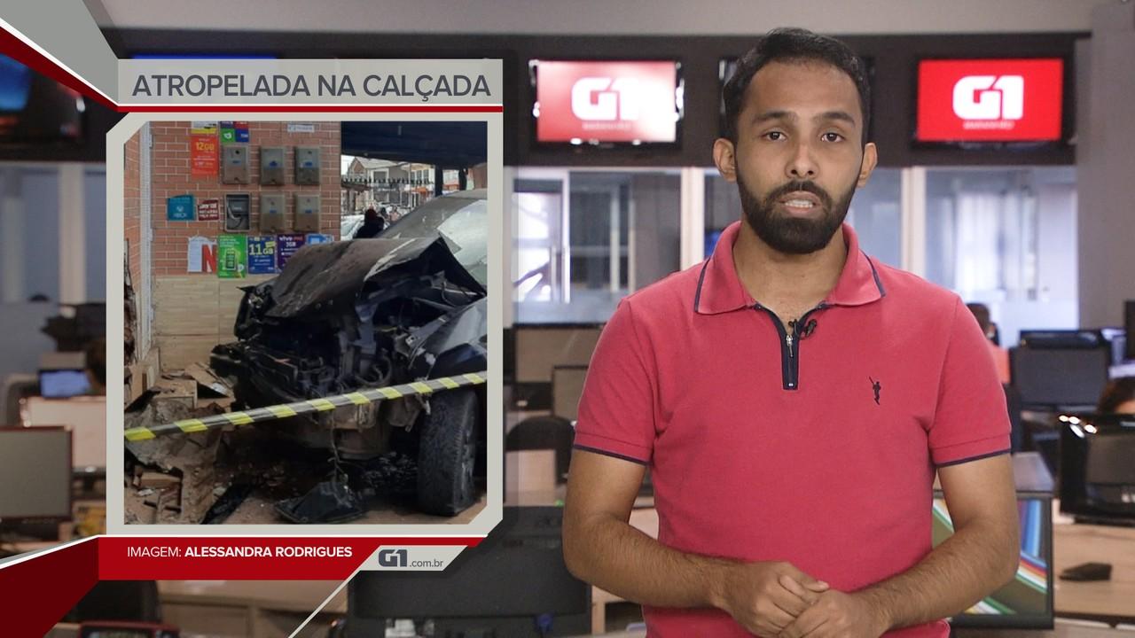 G1 em 1 Minuto: Mulher morre atropelada na calçada, em Raposa
