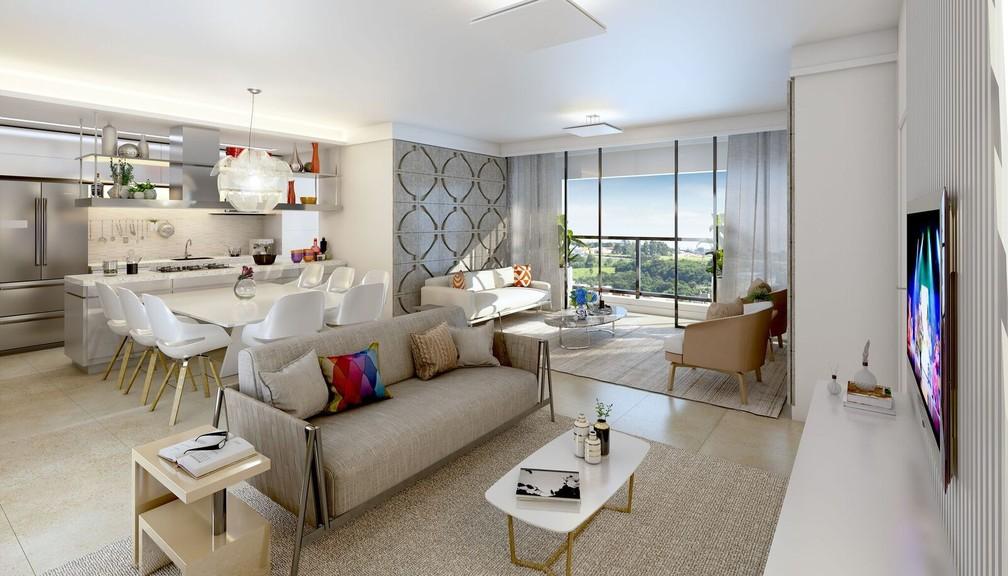 Ipê da Mata tem apartamentos de 127 m², três suítes e duas vagas de garagem — Foto: Hugo Engenharia/Divulgação