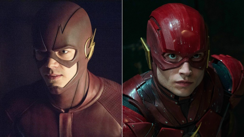 095056654 ... Grant Gustin x Ezra Miller  The Flash é interpretado por atores  diferentes na TV e