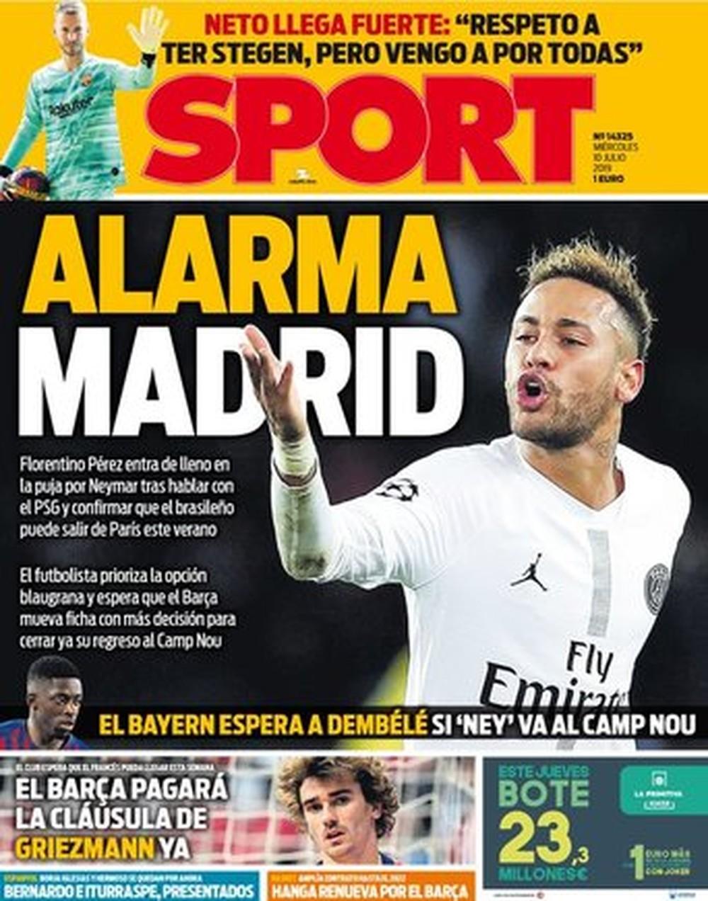 """O """"Sport"""": Alarme Madrid — Foto: Reprodução/Sport"""