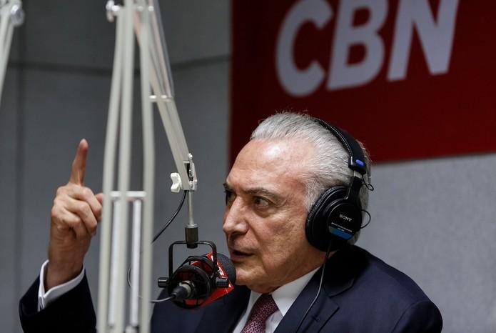 O presidente Michel Temer, durante entrevista à rádio CBN nesta segunda (7) (Foto: Alan Santos/PR)