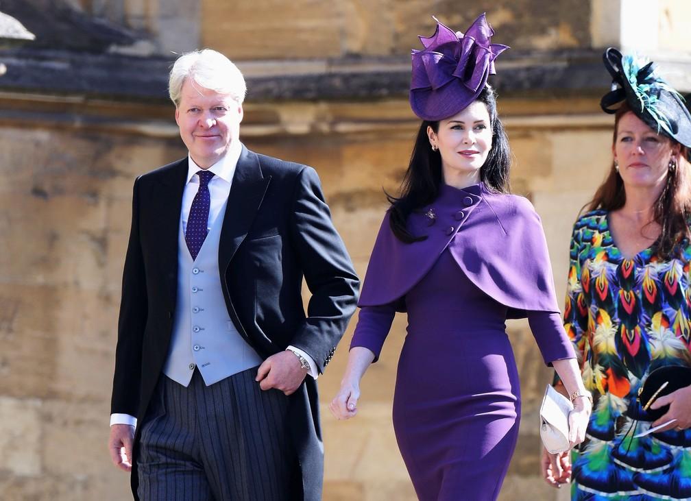 O conde Charles Spencer irmo da princesa Diana e sua mulher Karen Spencer chegam para o casamento do prncipe Harry Foto Chris JacksonPool via REUTERS